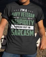 I'm A Navy Veteran I'm Allergic to Stupidity Classic T-Shirt apparel-classic-tshirt-lifestyle-28