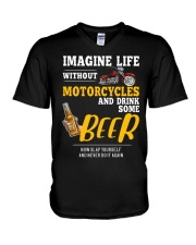 Imagine Life Without Motorcycle And Drink Some Bee V-Neck T-Shirt thumbnail