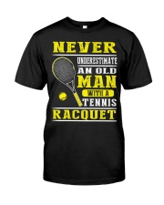 Never Understimate An Old Man With A Tennis Shirt Premium Fit Mens Tee thumbnail