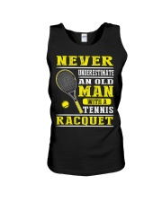 Never Understimate An Old Man With A Tennis Shirt Unisex Tank thumbnail