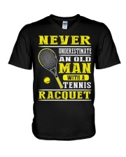 Never Understimate An Old Man With A Tennis Shirt V-Neck T-Shirt thumbnail
