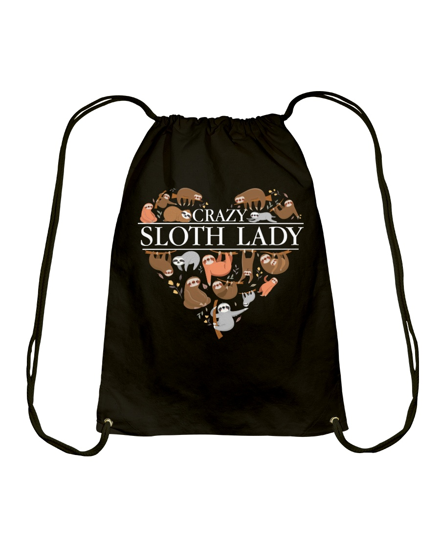 CRAZY SLOTH LADY Drawstring Bag