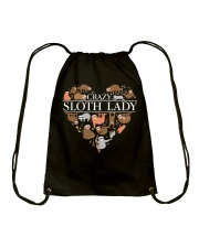 CRAZY SLOTH LADY Drawstring Bag tile
