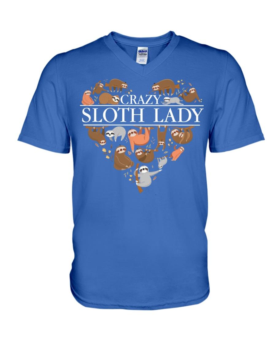CRAZY SLOTH LADY V-Neck T-Shirt