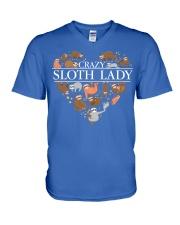CRAZY SLOTH LADY V-Neck T-Shirt front