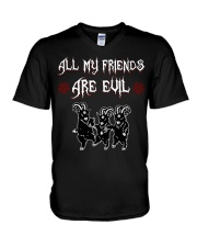 ALL MY FRIENDS ARE EVIL V-Neck T-Shirt thumbnail