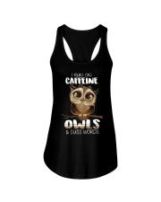 I RUN ON CAFFEINE OWLS AND CUSS WORDS Ladies Flowy Tank thumbnail
