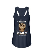 I RUN ON CAFFEINE OWLS AND CUSS WORDS Ladies Flowy Tank front