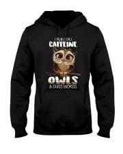 I RUN ON CAFFEINE OWLS AND CUSS WORDS Hooded Sweatshirt thumbnail