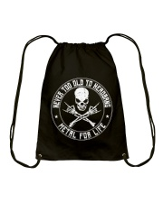 NEVER TOO OLD TO HEADBANG Drawstring Bag thumbnail