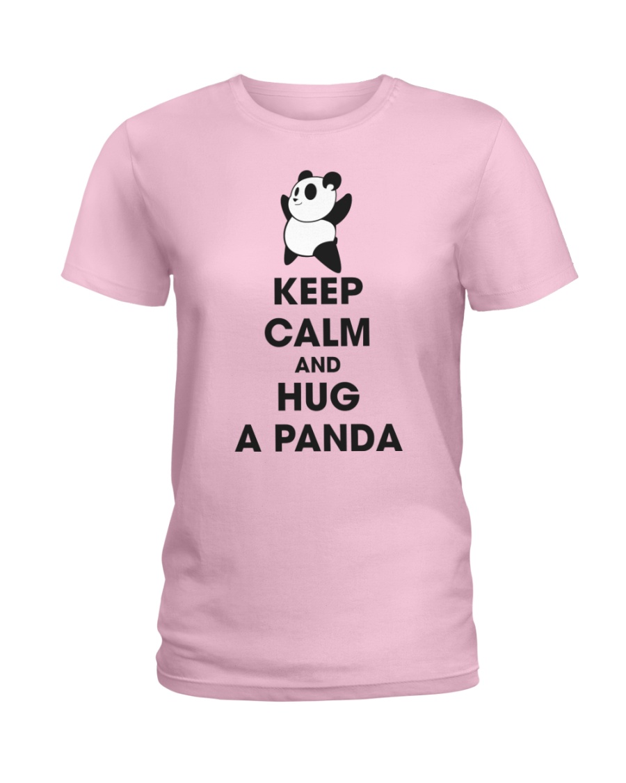 Keep Calm And Hug Panda Ladies T-Shirt
