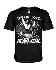 THIS GIRL LOVES METAL V-Neck T-Shirt thumbnail