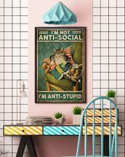 Cat Im not aniti social Im antistupid 11x17 Poster lifestyle-poster-6