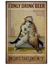 Cat Only drink beer on days that end with y 11x17 Poster front