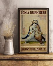 Cat Only drink beer on days that end with y 11x17 Poster lifestyle-poster-3