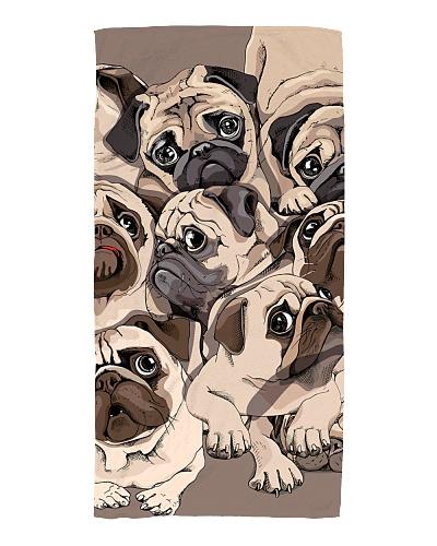 Portrait of many Pugs hand drawn illustration