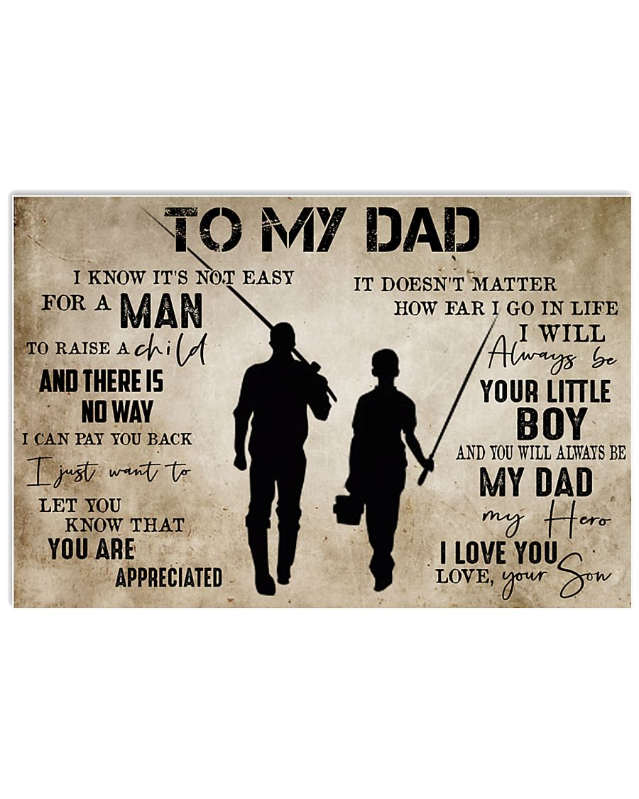 To My Dad From Son Fishing 24x16 Poster