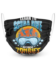 Zombies can't swim funny underwater scuba diving  2 Layer Face Mask - Single front