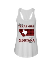 Just A Texas Girl In Montana World Ladies Flowy Tank tile
