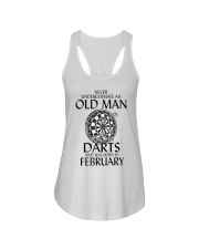 Never Underestimate Old Man Loves Darts February Ladies Flowy Tank thumbnail