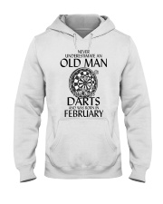Never Underestimate Old Man Loves Darts February Hooded Sweatshirt thumbnail