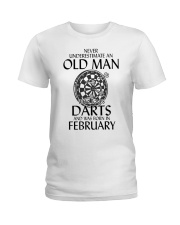 Never Underestimate Old Man Loves Darts February Ladies T-Shirt thumbnail