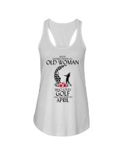 Never Underestimate Old Woman Golf April Ladies Flowy Tank thumbnail