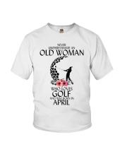 Never Underestimate Old Woman Golf April Youth T-Shirt thumbnail