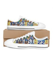 AUGUST 22 LICENSE PLATES Women's Low Top White Shoes inside-left-outside-left