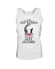 Never Underestimate Old Woman Golf December Unisex Tank thumbnail