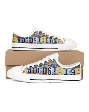 AUGUST 19 LICENSE PLATES Women's Low Top White Shoes inside-right-outside-right