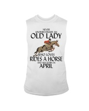 Never Underestimate Old Lady Rides Horse April Sleeveless Tee tile