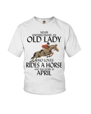 Never Underestimate Old Lady Rides Horse April Youth T-Shirt tile