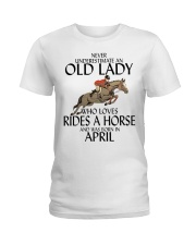 Never Underestimate Old Lady Rides Horse April Ladies T-Shirt tile
