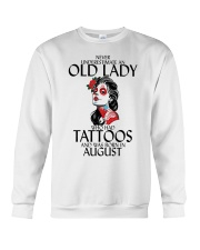 Never Underestimate Old Lady Tattoos August Crewneck Sweatshirt thumbnail