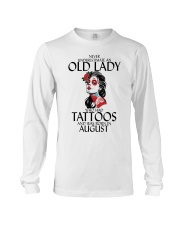 Never Underestimate Old Lady Tattoos August Long Sleeve Tee thumbnail