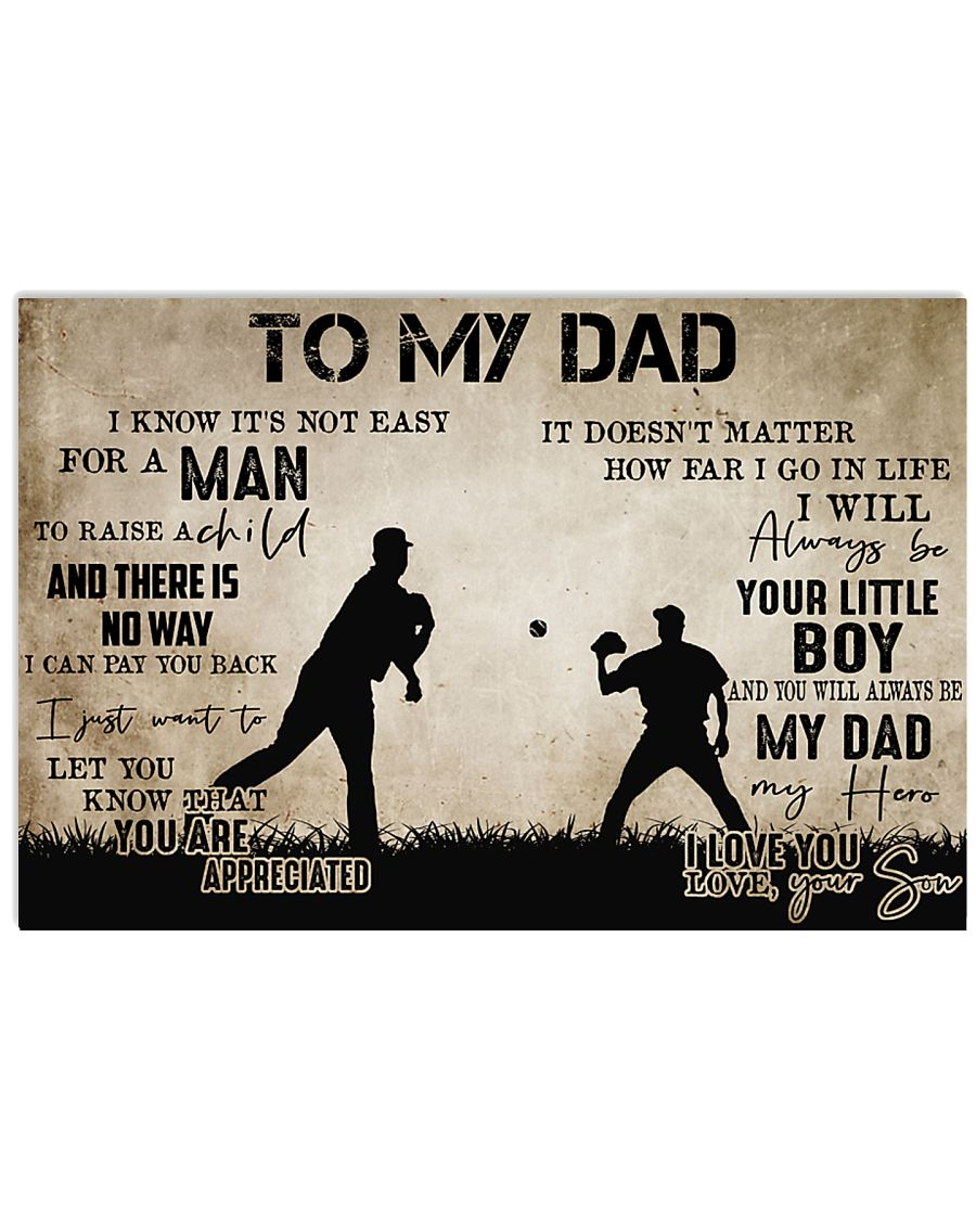 To My Dad From Son baseball 24x16 Poster