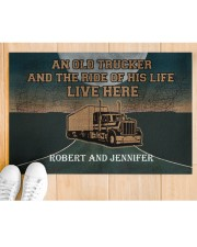 """A Trucker And The Ride Of His Life Personalized  Doormat 22.5"""" x 15""""  aos-doormat-22-5x15-lifestyle-front-03"""