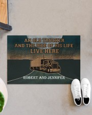 """A Trucker And The Ride Of His Life Personalized  Doormat 22.5"""" x 15""""  aos-doormat-22-5x15-lifestyle-front-07"""