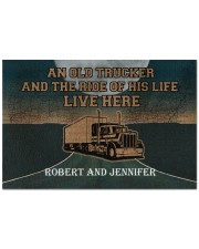 """A Trucker And The Ride Of His Life Personalized  Doormat 22.5"""" x 15""""  front"""