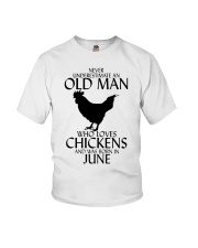 Never Underestimate Old Man Chicken June Youth T-Shirt thumbnail