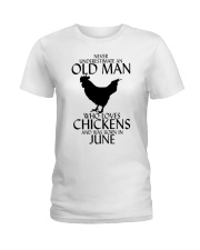 Never Underestimate Old Man Chicken June Ladies T-Shirt thumbnail