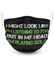 Listening To You But In My Head I'm playing golf 2 Layer Face Mask - Single front