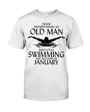 Never Underestimate Old Man Swimming January Classic T-Shirt front