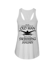 Never Underestimate Old Man Swimming January Ladies Flowy Tank thumbnail