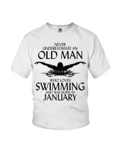 Never Underestimate Old Man Swimming January Youth T-Shirt thumbnail