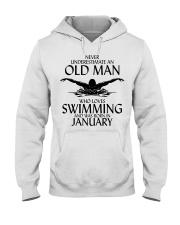 Never Underestimate Old Man Swimming January Hooded Sweatshirt thumbnail