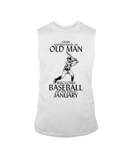 Never Underestimate Old Man Baseball January Sleeveless Tee thumbnail