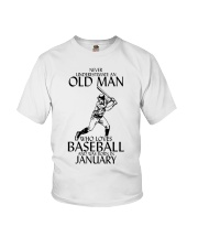 Never Underestimate Old Man Baseball January Youth T-Shirt thumbnail