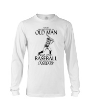 Never Underestimate Old Man Baseball January Long Sleeve Tee thumbnail